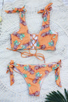 E&C Orange Lace Up Tie Shoulder Pineapple Sexy Cheeky Bikini Bathing Suit