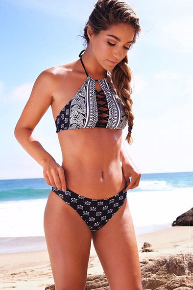 E&C Dark Blue Tribal Print Halter Strappy Crisscross Sexy Bikini Swimsuit