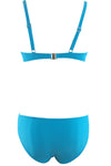 E&C Blue Color Block Padded Push Up High Waisted Bikini