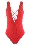 E&C Red Strappy Lace Up Plunge Low Back Sexy One Piece Swimsuit