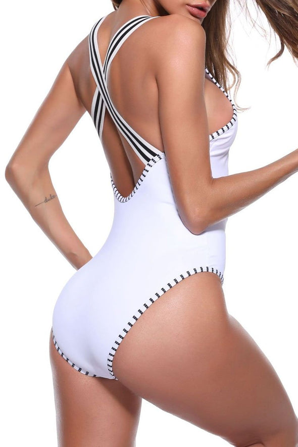 White Concise High Cut Contrast Striped One Piece Swimsuit