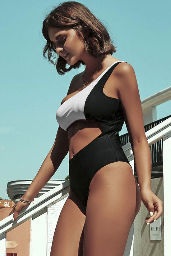 Contrast Cutout One Shoulder One Piece Swimsuit