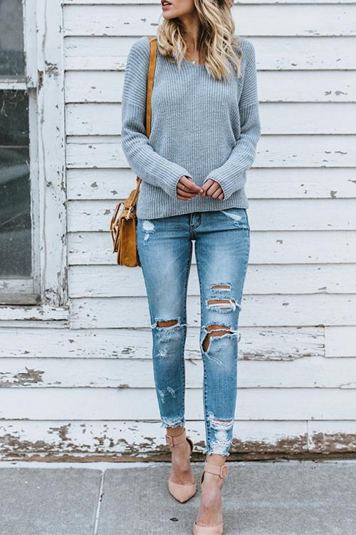 Round Neck Pullover Long Sweater