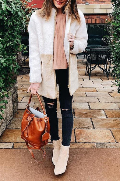 Casual Zip Up Patchwork Coat