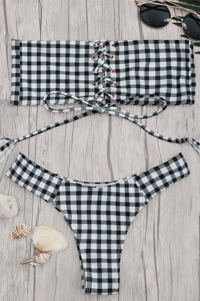 E&C White Black Gingham Lace Up High Cut Bandeau Cheeky Sexy Bikini Swimsuit