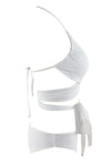 E&C White Strappy Halter Wrap Around Sexy Bikini Two Piece Swimsuit