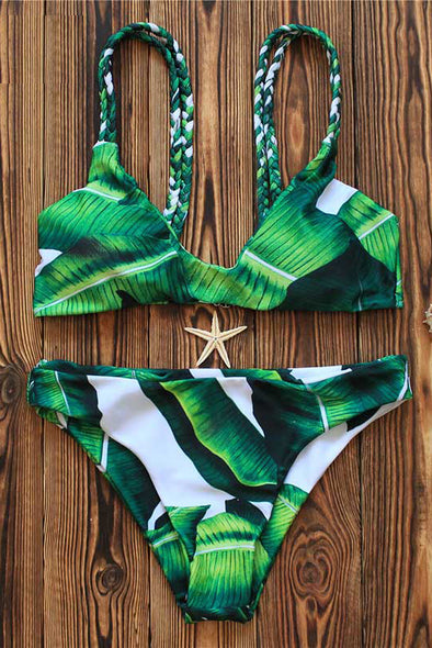E&C Green Tropical Leaf Print Braided Triangle Sexy Bikini Set