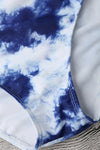 E&C White Blue Tie Dye High Neck Strappy Cutout Sexy Bikini Two Piece Swimsuit