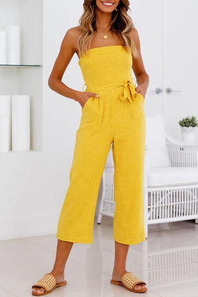 Dew Shoulder Yellow One-piece Jumpsuits
