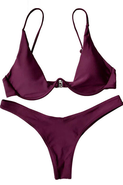E&C Burgundy Underwire High Cut Push Up Thong Sexy Bikini Swimsuit