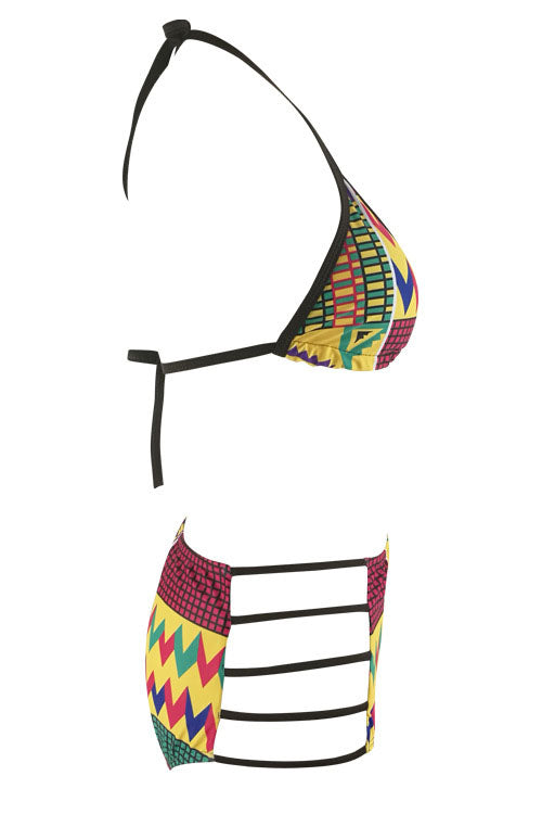E&C Yellow Halter African Print Strappy High Waisted Sexy Bikini Swimsuit