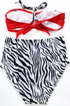 E&C White Red Zebra Print Halter High Waisted Retro Bikini Two Piece Swimsuit