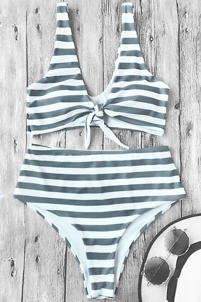 E&C Grey Knotted Stripe High Cut Sexy Bikini Swimsuit