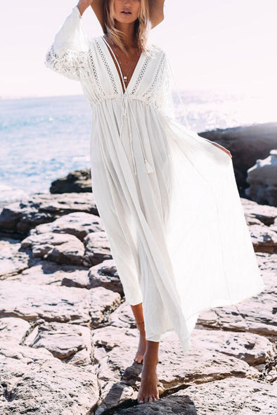 E&C White Plunge Lace Drawstring Boho Beach Cover Up Maxi Dress