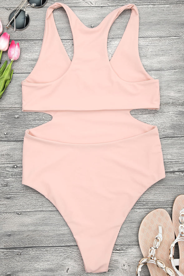 E&C Pink Plunge V Neck Cutout High Cut Cheeky One Piece Swimsuit