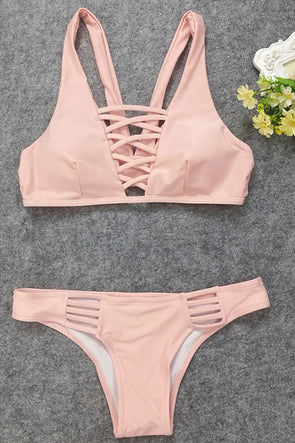 b1bd38d22b1f3 E C Pink Strappy Crisscross Sexy Two Piece Swimsuit
