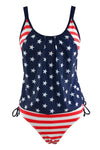 E&C Dark Blue American Flag Print Patriotic Side Tie Sexy Tankini Set