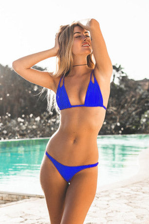 E&C Blue Micro String Thong High Cut Sexy Two Piece Bikini Swimsuit