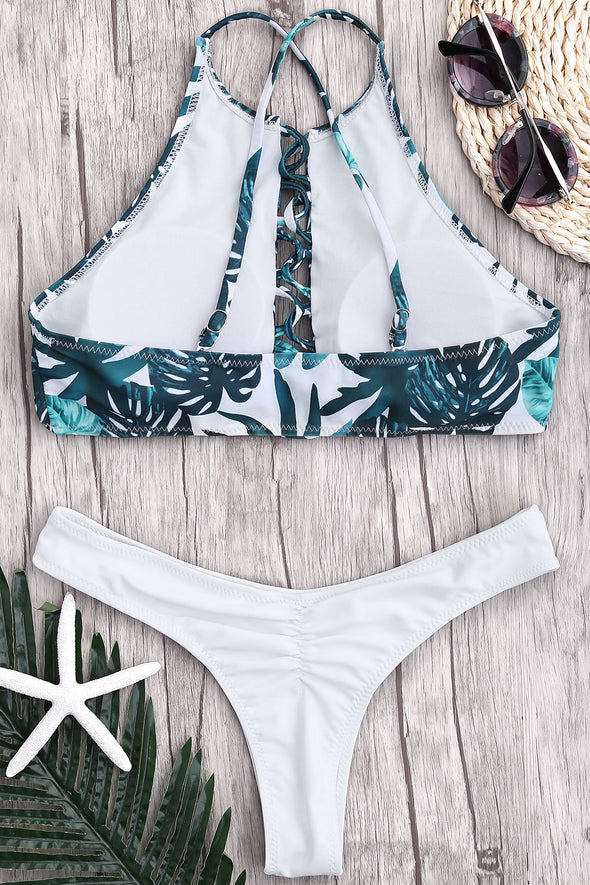 E&C White Palm Leaf Print Thong Scrunch Butt High Cut Sexy Bikini Swimsuit