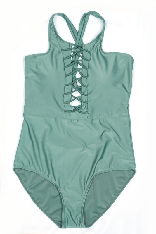 E&C Army Green Strappy Caged Backless Sexy One Piece Swimsuit