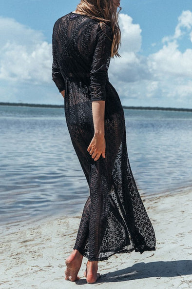 E&C Black Boho Sheer Lace Long Sexy Beach Cover Up Dress