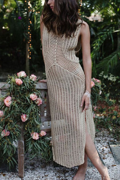 E&C Apricot Sheer Crochet Slit Sleeveless Long Sexy Beach Cover Up Dress