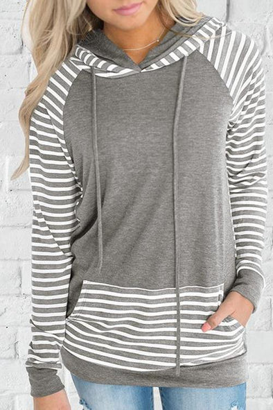 Casual Hooded Collar Striped Hoodie