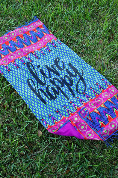 E&C Light Blue Slogan Plaid Tribal Print Fringed Boho Rectangle Beach Throw