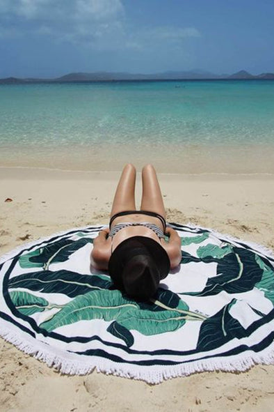 E&C White Tropical Leaf Print Fringed Boho Roundie Beach Throw