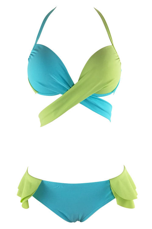 E&C Blue Green Halter Wrap Around Push Up Two Tone Ruffle Sexy Bikini