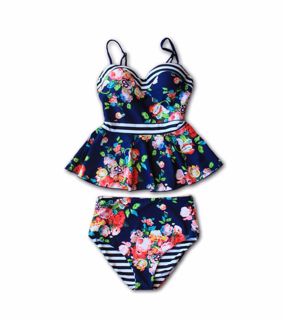 5e4cea4e8e E C Dark Blue Sweetheart High Waisted Stripe Floral Print Ruffle Cute Peplum  Tankini Swimsuit