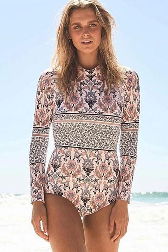 Ethnic Print Cutout Back Sleeved Rash Guard One Piece Swimsuit