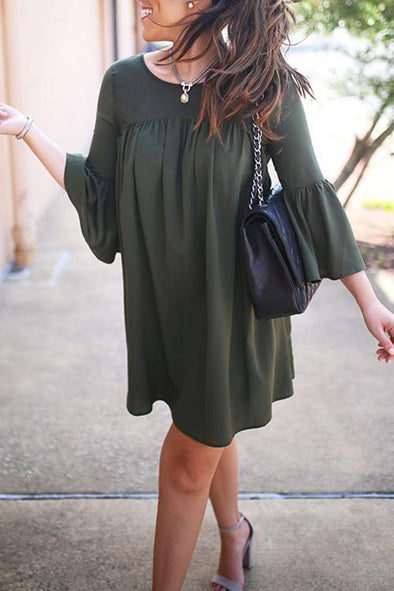 Casual Flare Sleeve Mini Dress