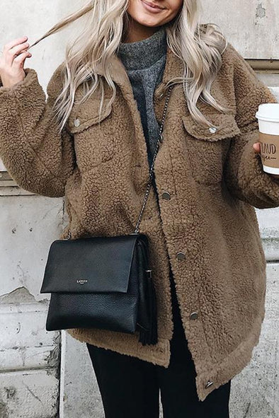Button Lapel Long Sleeve Plush Coat