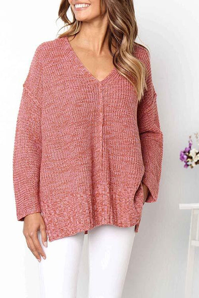 Casual Slit Hem Pink Sweater