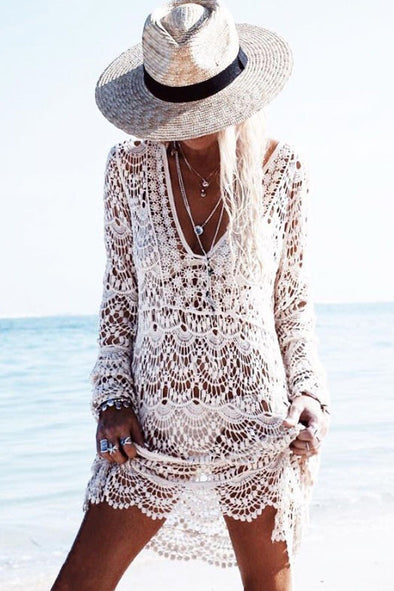 E&C White Plunging Hollow Lace Crochet Long Sleeve Sexy Cover Up
