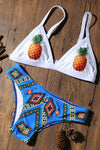 E&C White Pineapple Tribal Print Triangle Cheeky Sexy Bikini Swimsuit