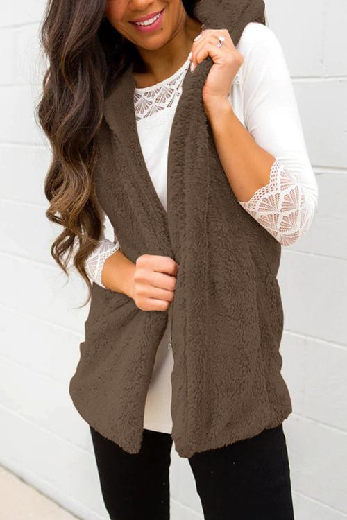 Casual Solid Hooded Collar Vests