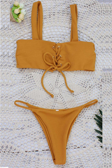 E&C Yellow Strappy Lace Up High Cut Ribbed Thong Sexy Bikini Swimsuit