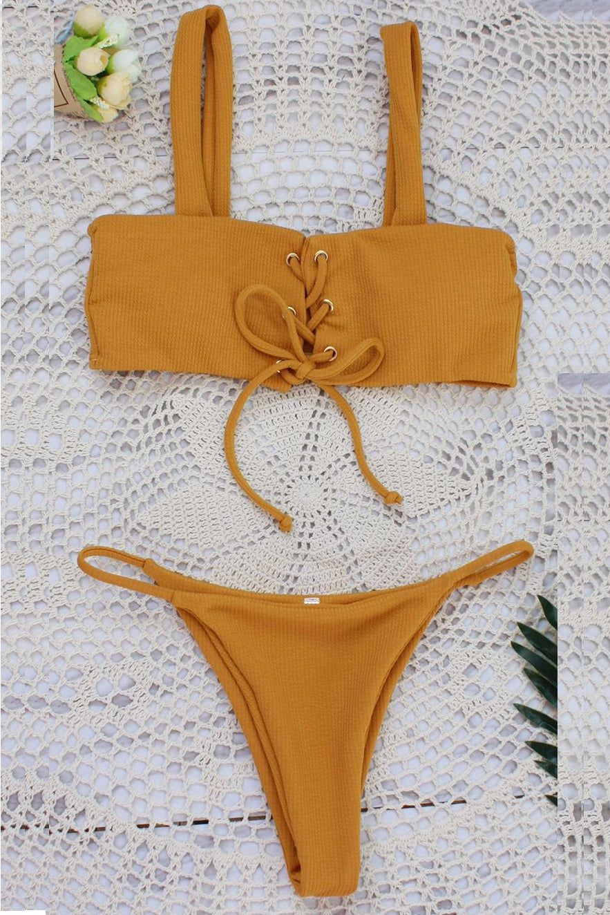 ec8c3731ceb3 E&C Yellow Strappy Lace Up High Cut Ribbed Thong Sexy Bikini Swimsuit –  elleschic