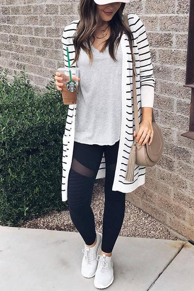 Casual Striped Long Cardigan