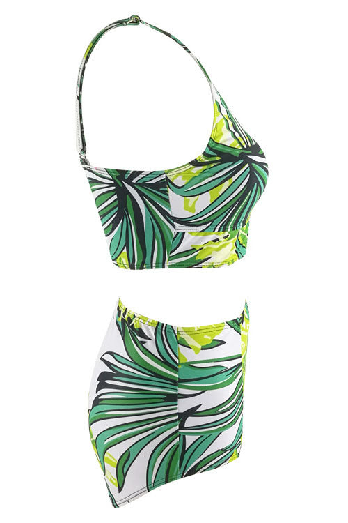 E&C White Green Tropical Leaf Print High Waisted Bikini Set