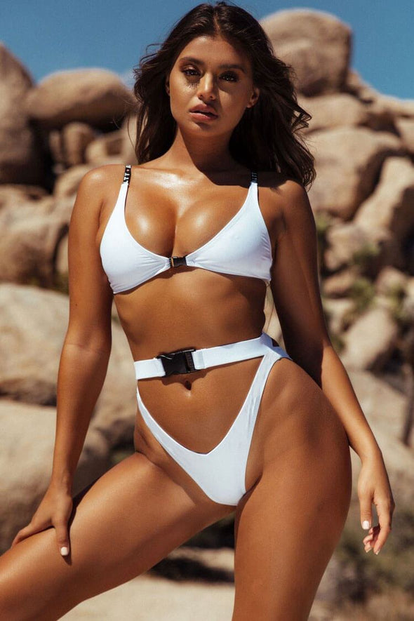 FASTENING BUCKLE HIGH LEG HIGH WAISTED BIKINI - TWO PIECE SWIMSUIT