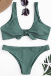 E&C Army Green Knotted Cheeky Sexy Two Piece Bikini Swimsuit