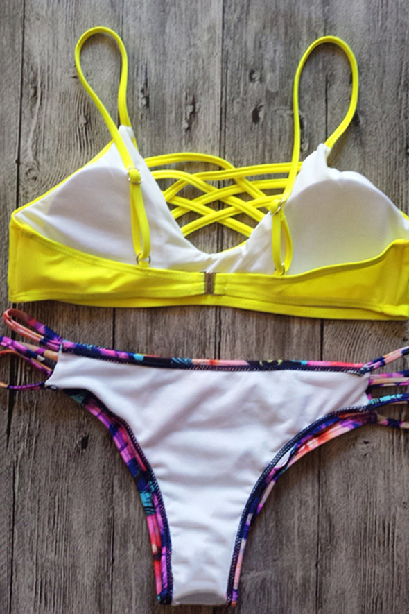 E&C Yellow Leaf Print Caged Strappy Sexy Thong Cheeky Bikini Swimsuit