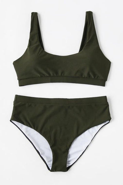 E&C Army Green Scoop High Waisted Sexy Bikini Bathing Suit