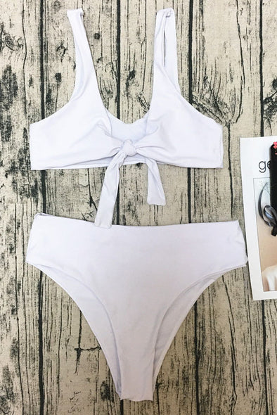E&C White Scoop Front Tie Knotted High Cut Sexy Bikini Swimsuit