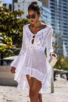 FLARE SLEEVE DRAWSTRING CROCHET COVER UP