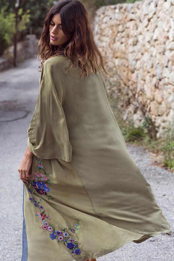 Floral Embroidery Sleeved Maxi Cover Up