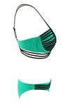 E&C Green Strappy Caged Sexy Bikini Swimsuit